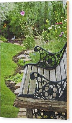 Scroll Bench Garden Scene Digital Artwork Wood Print