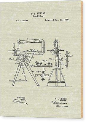 Scroll-saw 1880 Patent Art Wood Print by Prior Art Design