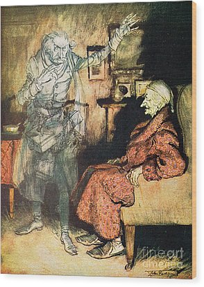 Scrooge And The Ghost Of Marley Wood Print by Arthur Rackham