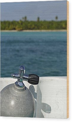 Scuba Diving Cylinder On Boat By Ocean Wood Print by Sami Sarkis