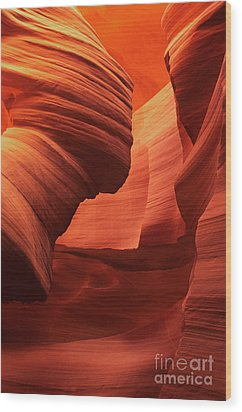 Wood Print featuring the photograph Sculpted Sandstone Upper Antelope Slot Canyon Arizona by Dave Welling