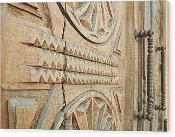 Sculpted Wooden Door Wood Print by Vlad Baciu