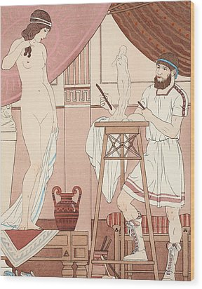 Sculpting A Statue Wood Print by Joseph Kuhn-Regnier