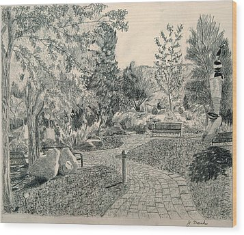 Sculpture Garden In The Fall Wood Print by Joanna Franke