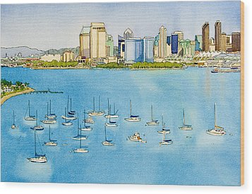 Sd Skyline Pen And Ink Wood Print by Mary Helmreich