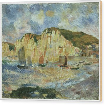 Sea And Cliffs Wood Print by Pierre-Auguste Renoir