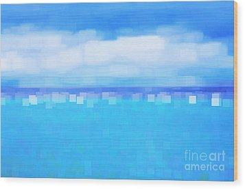 Sea And Sky Abstract Wood Print by Natalie Kinnear