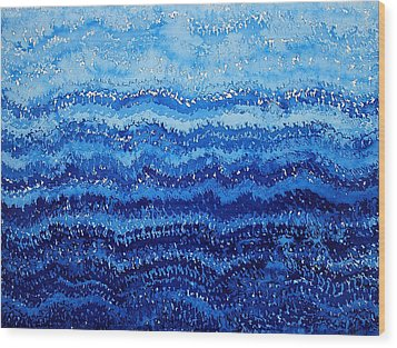 Sea And Sky Original Painting Wood Print by Sol Luckman