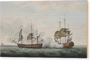 Sea Battle Wood Print by Francis Holman
