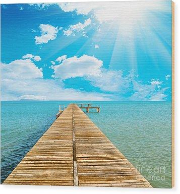 Sea Beautiful And Sky Wood Print by Boon Mee