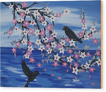 Sea Blossoms Wood Print by Cathy Jacobs