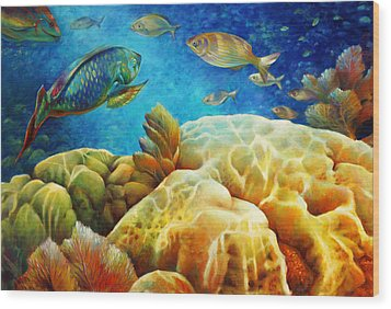 Wood Print featuring the painting Sea Escape I -27x40 by Nancy Tilles
