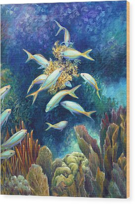 Sea Food Chain - Feeding Frenzy Wood Print by Nancy Tilles
