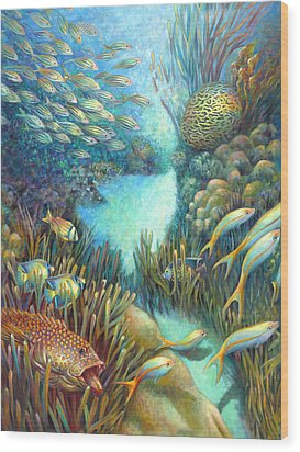 Sea Food Chain - Stalker Wood Print by Nancy Tilles