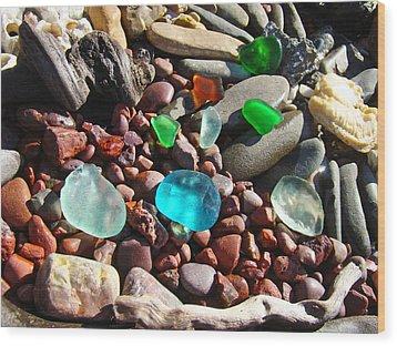 Sea Glass Art Prints Beach Seaglass Wood Print by Baslee Troutman