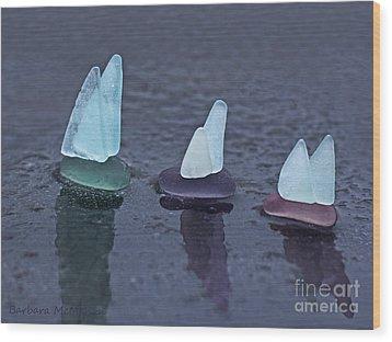 Sea Glass Flotilla Wood Print