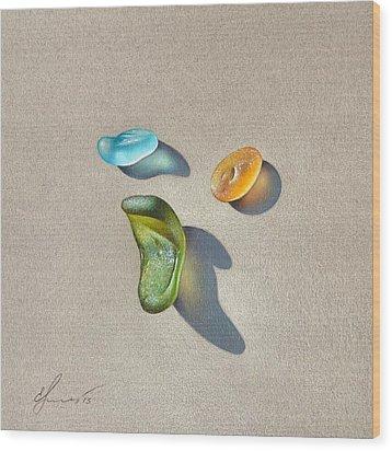 Sea Glass - Trio Wood Print by Elena Kolotusha