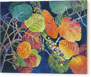 Wood Print featuring the painting Sea Grapes II by Roger Rockefeller
