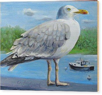 Sea Gull On Alert Wood Print