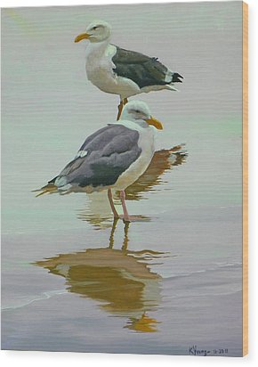 Sea Gulls Wood Print by Kenneth Young