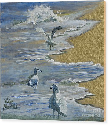 Sea Gulls With Gold Leaf By Vic Mastis Wood Print by Vic  Mastis