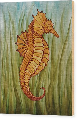 Wood Print featuring the painting Sea Horse by Katherine Young-Beck