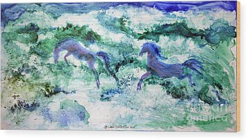 Wood Print featuring the painting Sea Horses by Joan Hartenstein