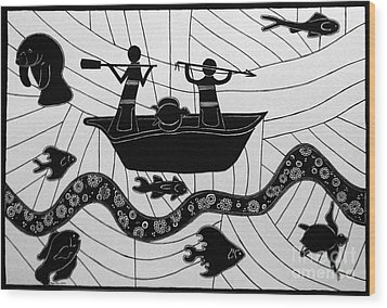 Wood Print featuring the drawing Sea Hunt by Megan Dirsa-DuBois