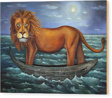 Sea Lion Bolder Image Wood Print by Leah Saulnier The Painting Maniac