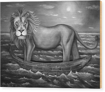 Sea Lion In Bw Wood Print by Leah Saulnier The Painting Maniac