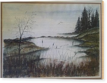 Wood Print featuring the painting Sea Marsh Sold by Richard Benson