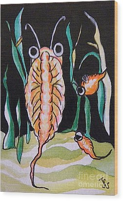 Wood Print featuring the painting Sea Monkey by Joyce Gebauer