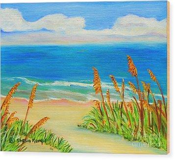 Sea Oat Path Wood Print