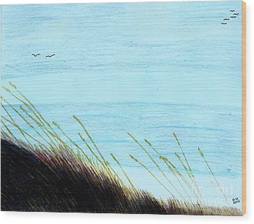 Wood Print featuring the drawing Sea Oats In The Wind Drawing by D Hackett
