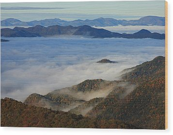 Sea Of Clouds In The Courthouse Valley-blue Ridge Parkway Wood Print by Mountains to the Sea Photo