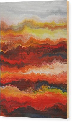 Sea Of Fire  Wood Print by Andrada Anghel