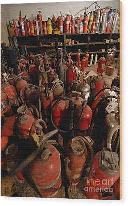 Sea Of Fire Extinguishers Wood Print by Amy Cicconi
