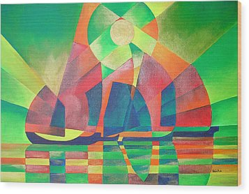 Wood Print featuring the painting Sea Of Green by Tracey Harrington-Simpson