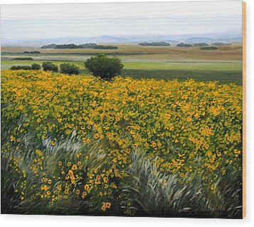 Sea Of Sunflowers Wood Print