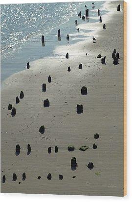 Sea Piles Wood Print by Deborah  Crew-Johnson