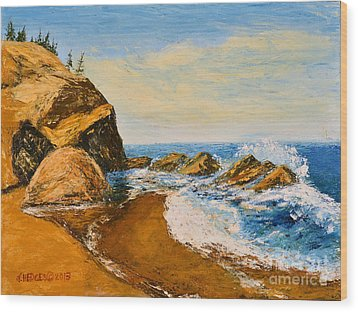 Sea Scape - Trees On Cliff Wood Print