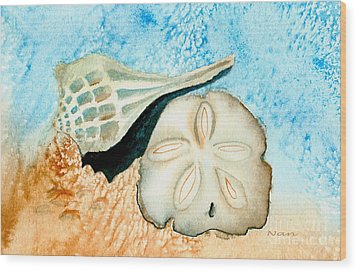Wood Print featuring the painting Sea Shell Treasures From The Ocean  by Nan Wright
