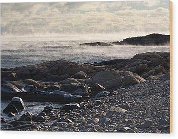 Sea-smoke At Schoodic Wood Print by Brent L Ander