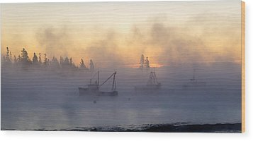 Sea Smoke Down East Maine  Wood Print