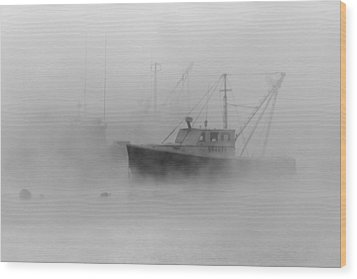 Sea Smoke Jonesport Maine  Wood Print