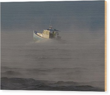 Sea Smoke Lobster Boat Wood Print