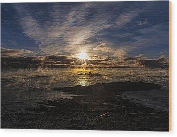Sea Smoke Panorama Wood Print by Marty Saccone