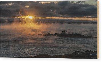 Sea Smoke Sunrise Wood Print by Marty Saccone