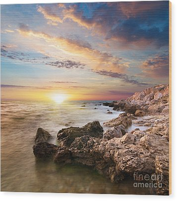 Sea Stones Wood Print by Boon Mee