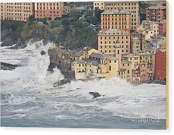 Wood Print featuring the photograph Sea Storm In Camogli - Italy by Antonio Scarpi